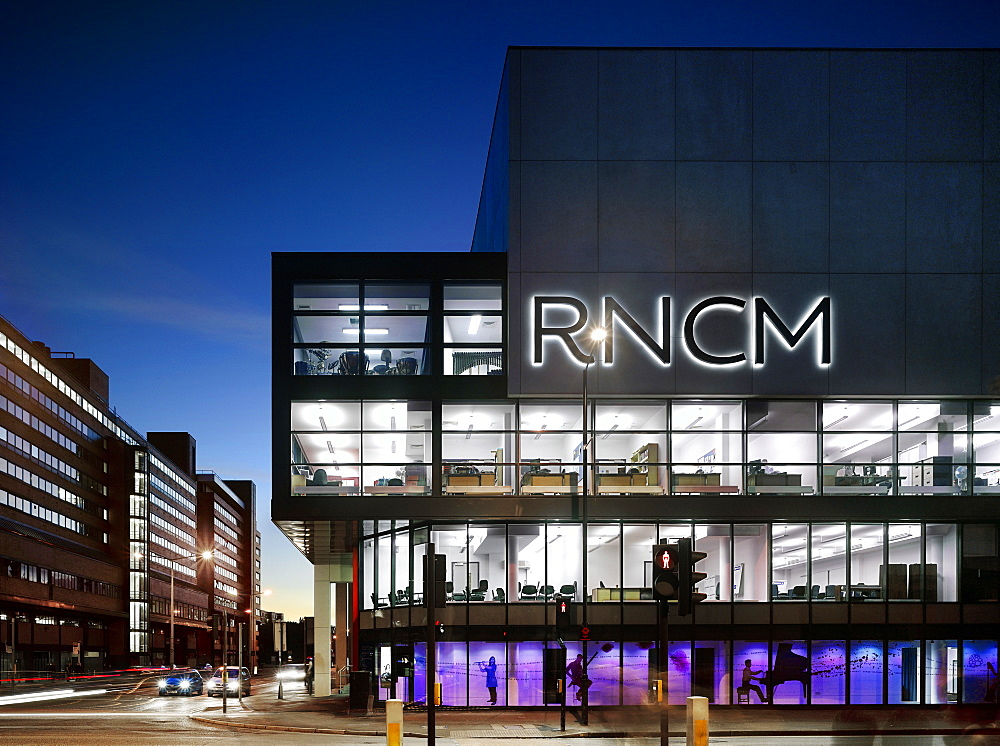 Exterior dusk view of the Royal Northern College of Music, architects MBLA, Manchester, Greater Manchester, England, United Kingdom, Europe - 815-2290