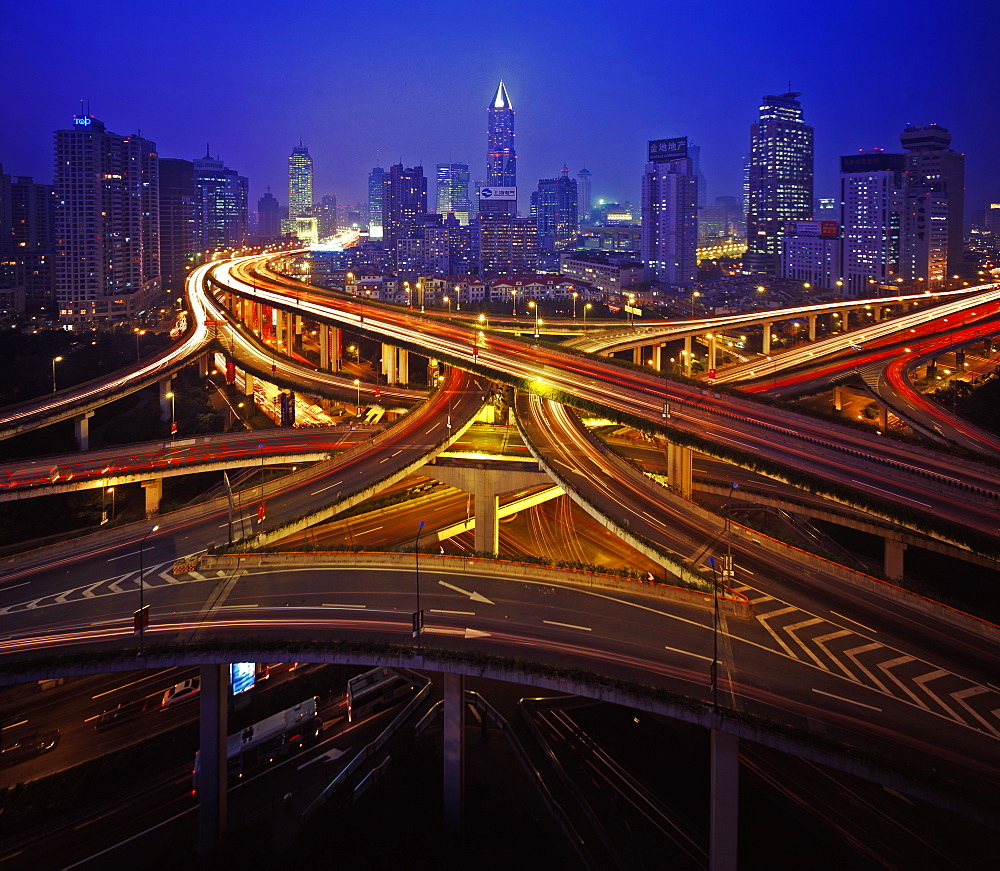 Motorway intersections at night, Shanghai, China, Asia - 815-325
