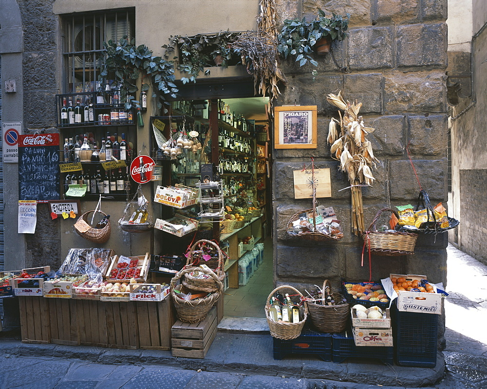 Grocery and wine shop, Florence, Tuscany, Italy, Europe