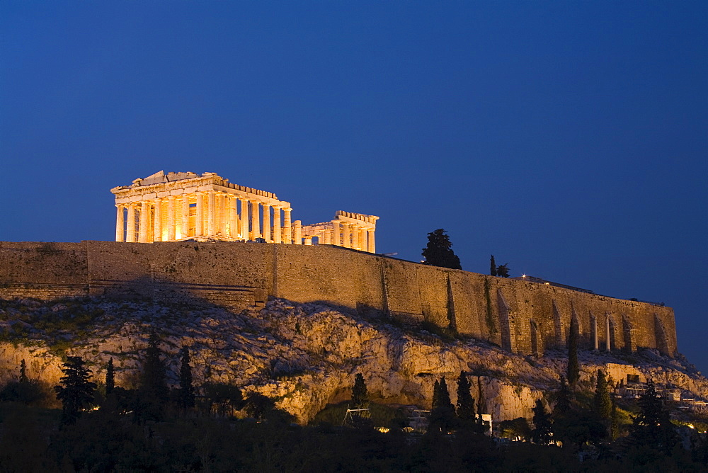 The Parthenon at dusk, Acropolis, UNESCO World Heritage Site, Athens, Greece, Europe