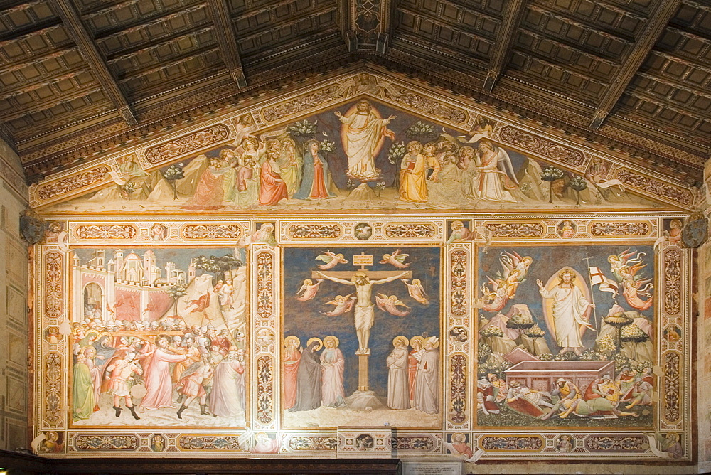 The Crucifixion by Taddeo Gaddi, fresco in the Sacristy, Basilica of Santa Croce, Florence, Tuscany, Italy, Europe