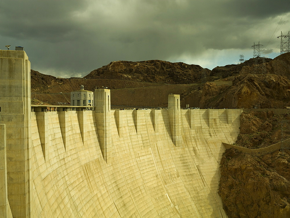 Hoover Dam,, built in the 1930s, Nevada, looking towards Arizona, United States of America, North America