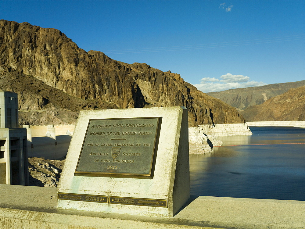 Hoover Dam plaque showing the dividing line between Nevada and Arizona states, United States of America, North America