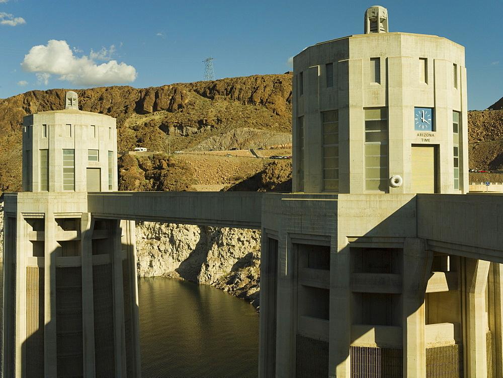 Hoover Dam water turbine towers, Arizona side, United States of America, North America
