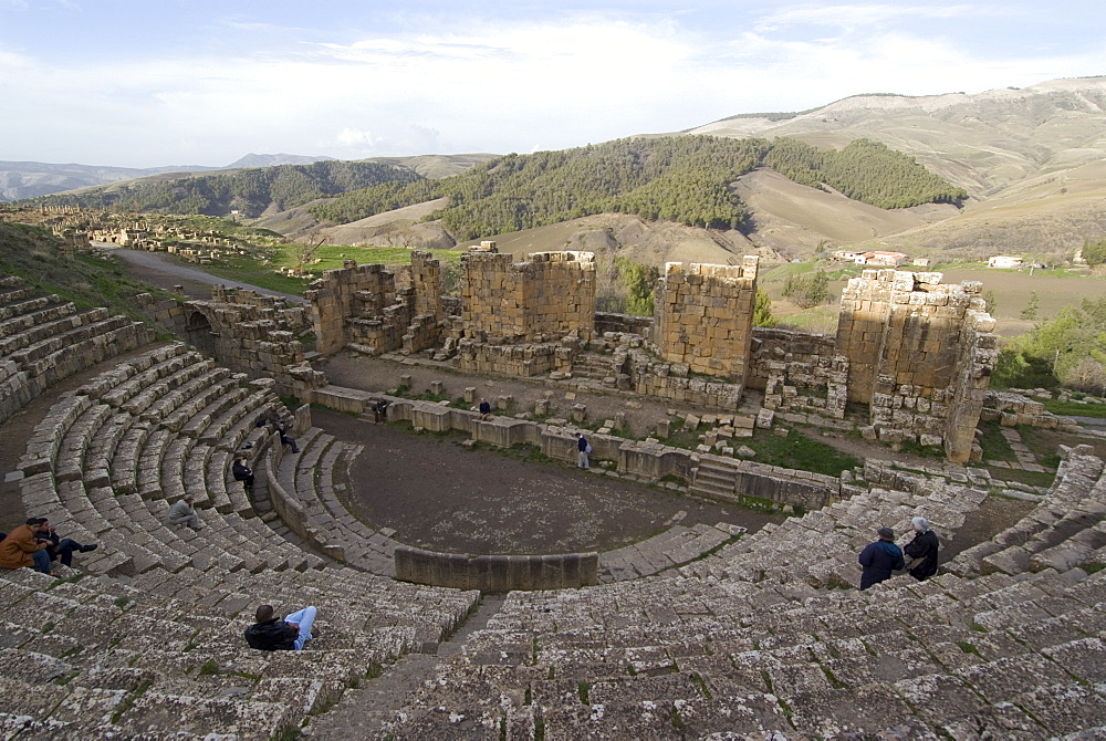 Theatre, Roman site of Djemila, UNESCO World Heritage Site, Algeria, North Africa, Africa