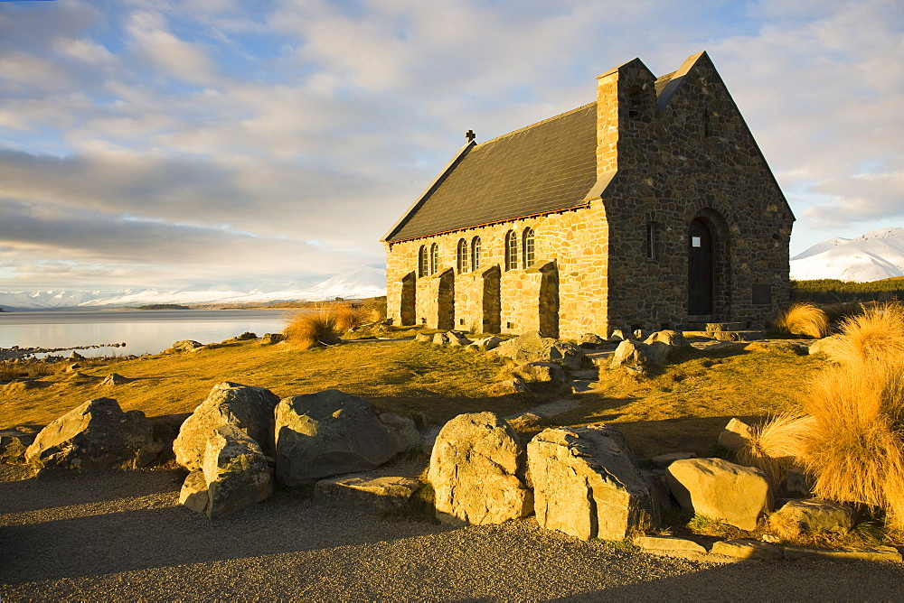 Evening light on The Church of the Good Shepherd, built in 1935, the first church built in the Mackenzie Basin on the shores of Lake Tekapo, South Island, New Zealand, Pacific