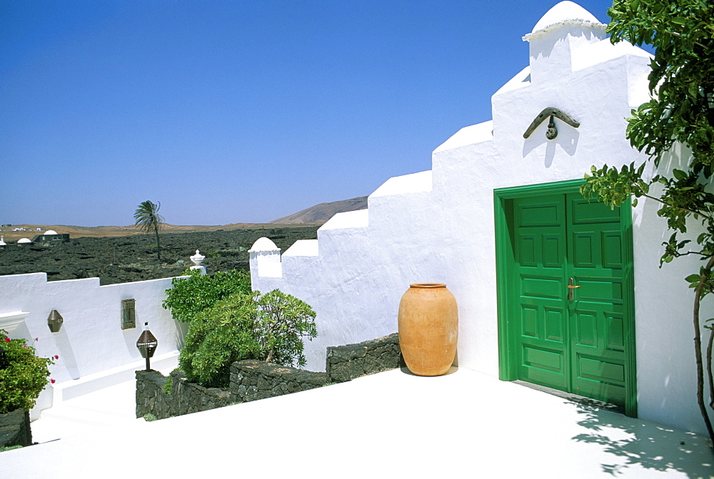 Green door and pot, Lanzarote, Canary Islands, Spain, Europe - 815-859