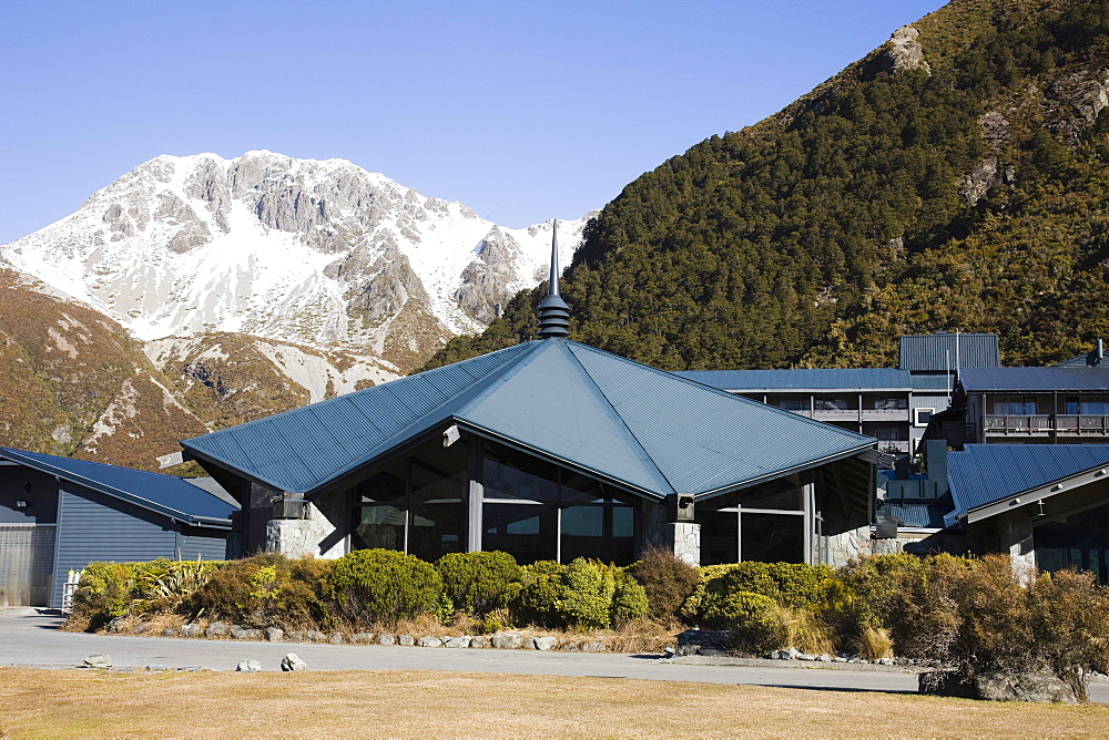 The Sir Edmund Hillary Alpine Centre and The Hermitage Hotel, Aoraki (Mount Cook) National Park, South Island, New Zealand, Pacific