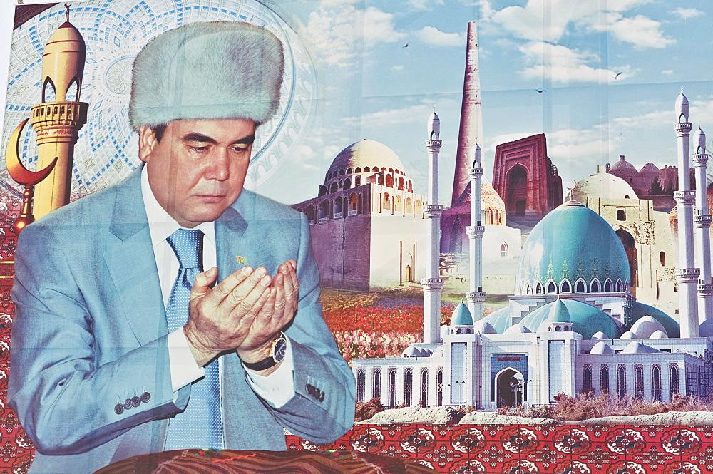 Propaganda poster of Turkmenbashi the former leader of Turkmenistan, Central Asia, Asia