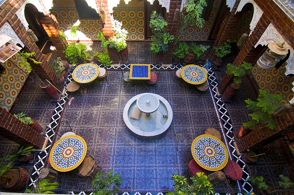 The inner yard of a little boutique hotel, formerly a manor house, in Marrakech, Morocco, North Africa, Africa