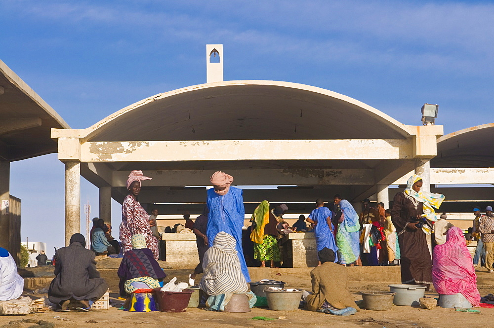Local people trading at the fish market of Nouakchott, Mauritania, Africa