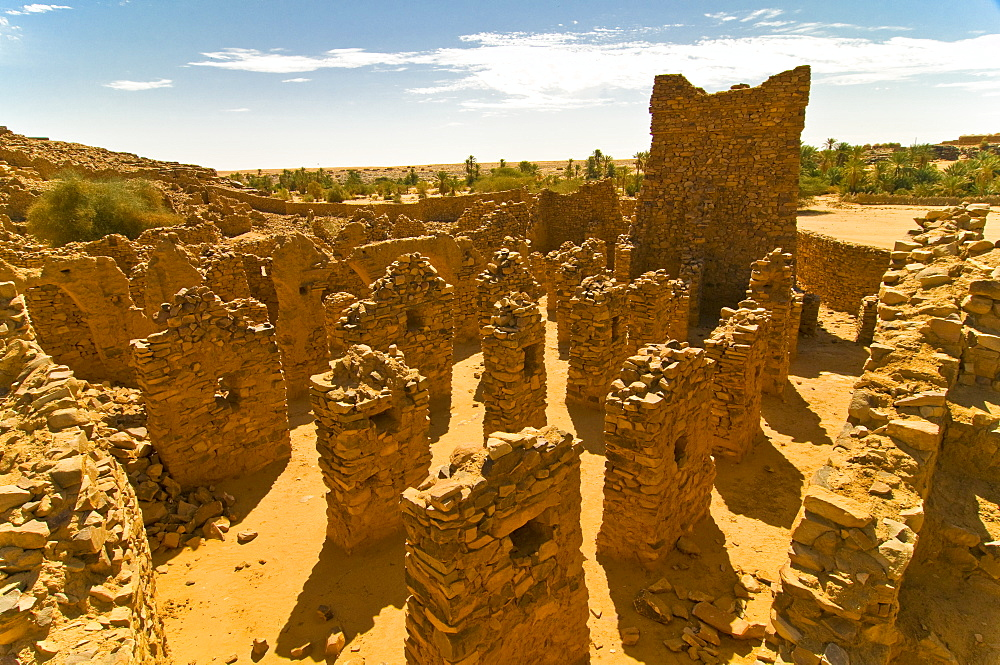 The ruined old caravan center of Ouadane, UNESCO World Heritage Site, Mauritania, Africa