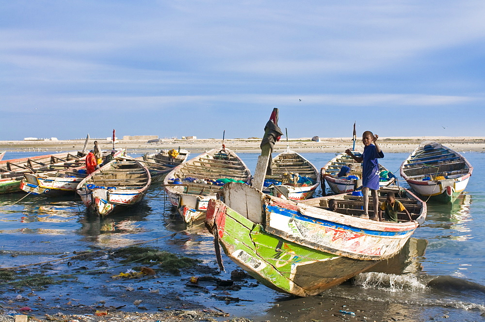 Fishing boats in the habour of Nouadhibou, Mauritania, Africa
