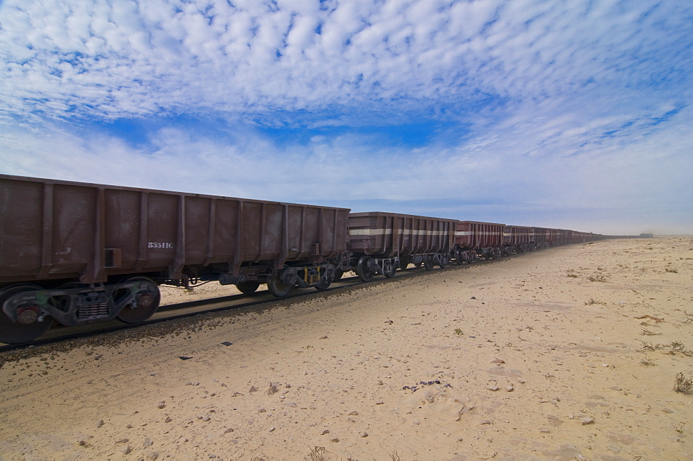 The longest iron ore train in the world between Zouerate and Nouadhibou, Mauritania, Africa