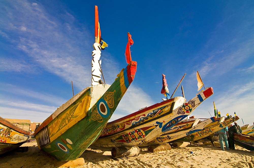 Colourful fishing boats at the fishing habour, Nouakchott, Mauritania, Africa