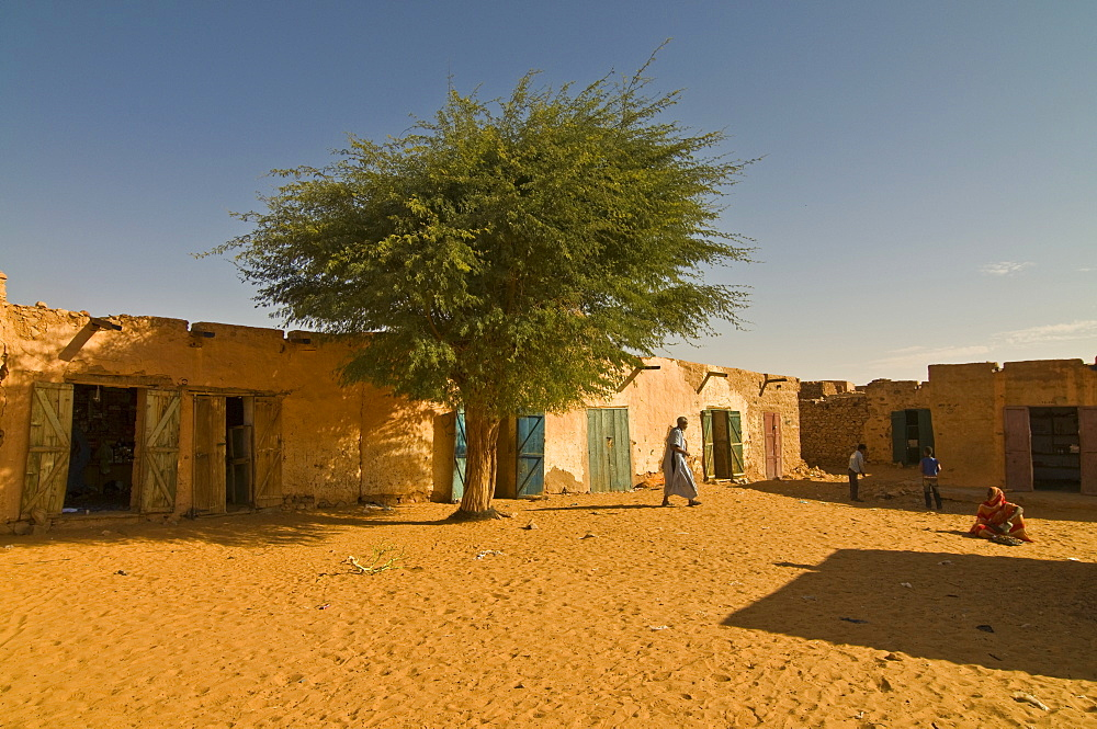 Sandy square at the UNESCO World Heritage Site of Chinguetti, medieval trading centre in northern Mauritania, Africa