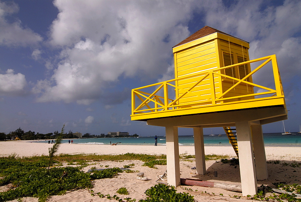 A little yellow beach lookout or viewpoint, Bridgetown, Barbados, West Indies, Caribbean, Central America