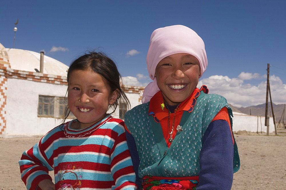 Young happy girls, Alichur, The Pamirs, Tajikistan, Central Asia, Asia