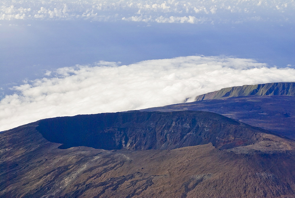 Aerial view of the crater of Piton de la Fournaise volcano, La Reunion, Indian Ocean, Africa