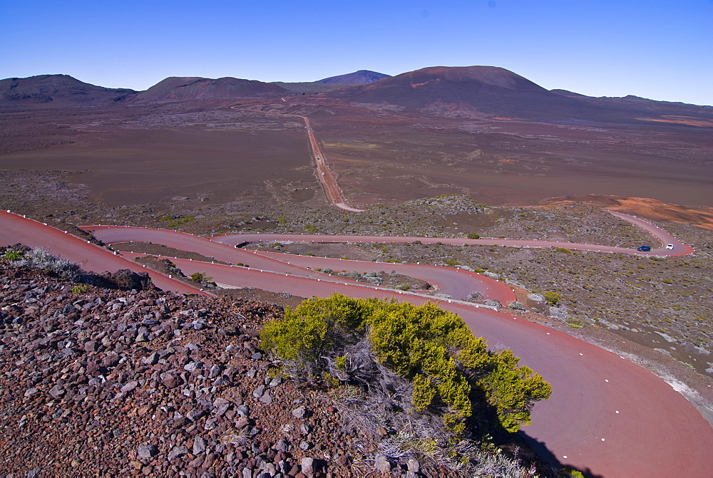Road leading to the Volcano of Piton de la Fournaise, La Reunion, Indian Ocean, Africa