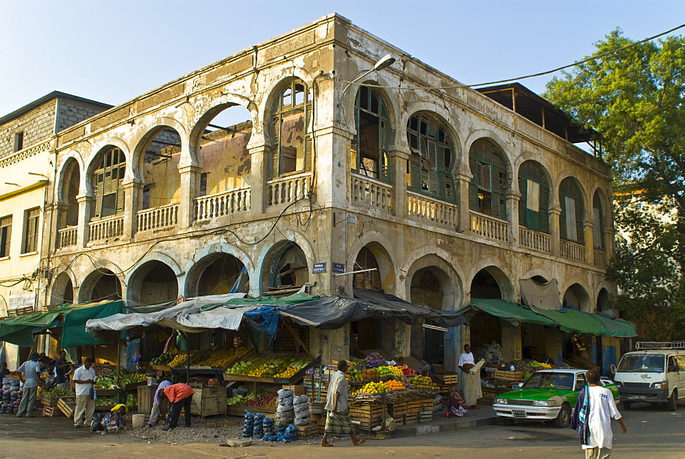 Old destroyed Italian colonial building, Djibouti, Republic of Djibouti, Africa