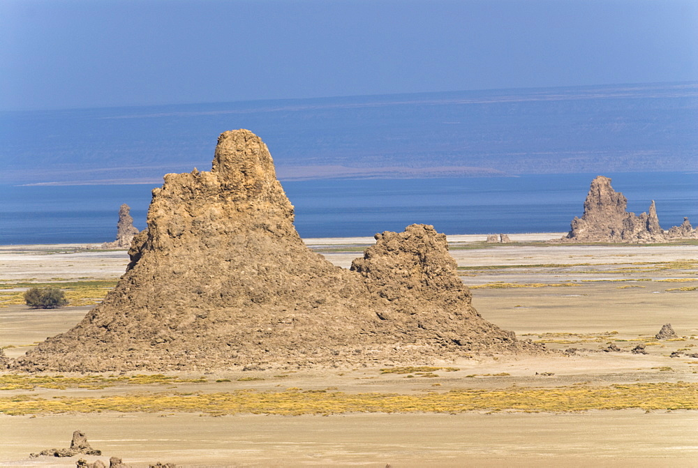 Lac Abbe (Lake Abhe Bad) with its chimneys, Republic of Djibouti, Africa