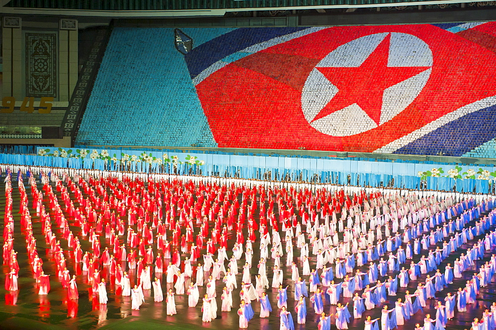 Dancers and acrobats at the Airand festival, Mass games in Pyongyang, North Korea, Asia - 816-2375