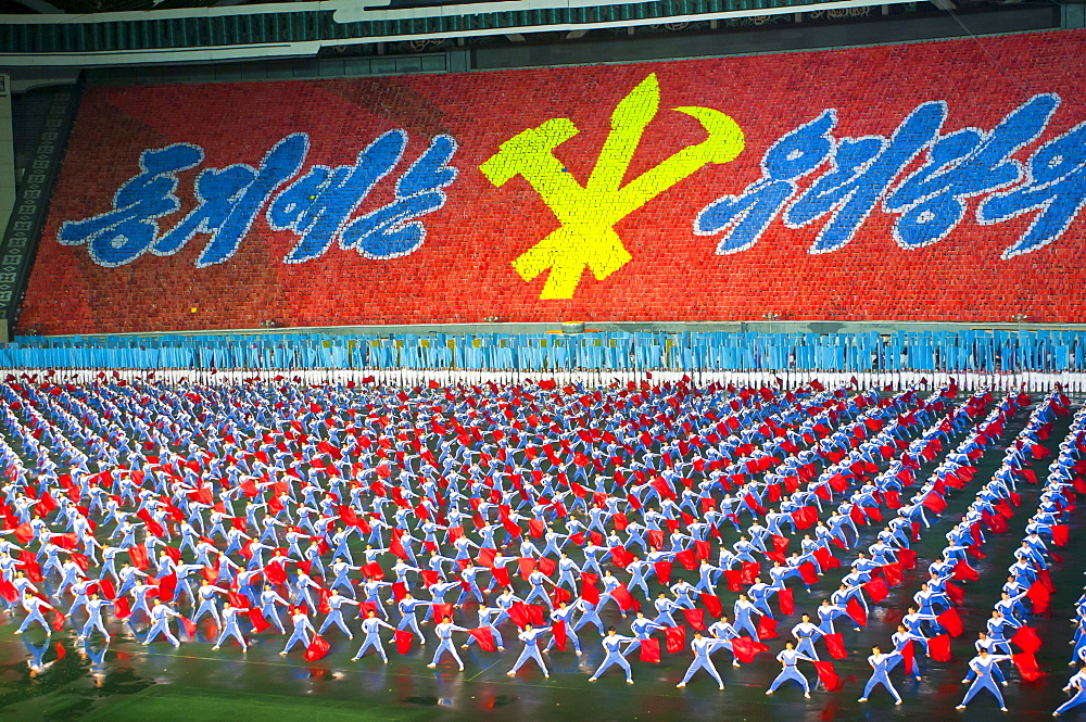Dancers at the Airand festival, Mass games in Pyongyang, North Korea, Asia