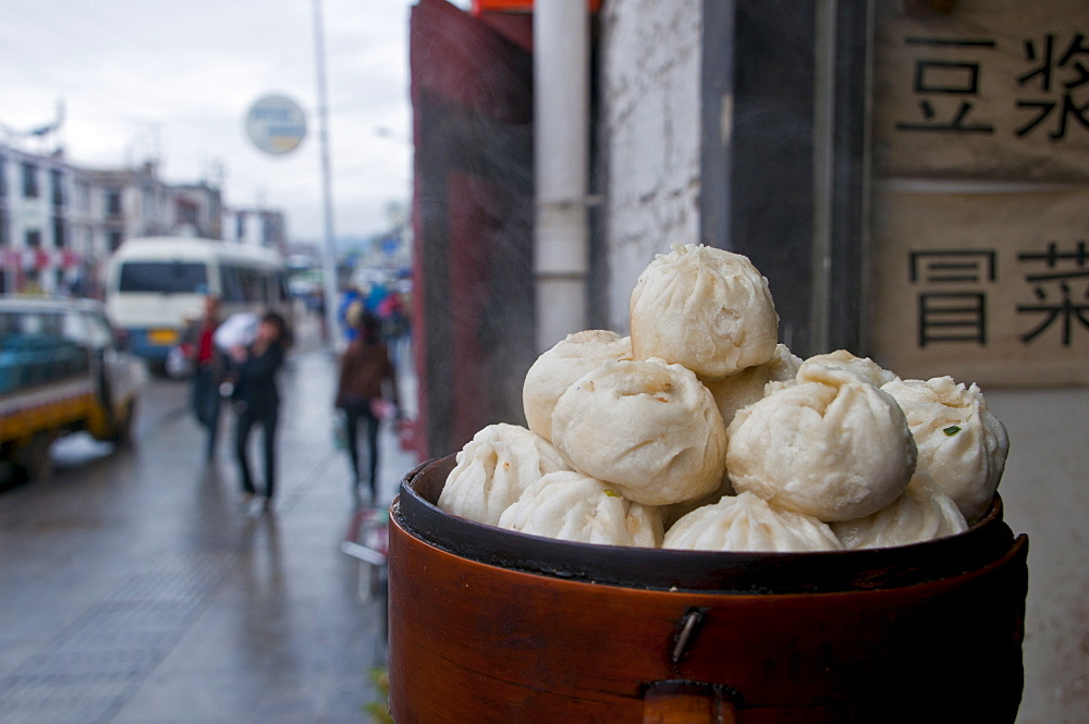 Dumplings for sale in a restaurant in Lhasa, Tibet, China, Asia