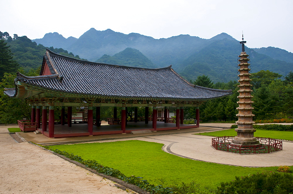 Pohyon-sa, a Korean Buddhist temple located in Hyangsan county in North Pyongan Province, Myohyang Mountains area, North Korea, Asia