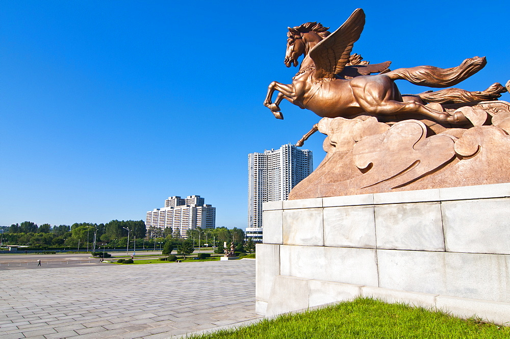 Flying horse monument in front of the Schoolchildrens palace, Pyongyang, North Korea, Asia