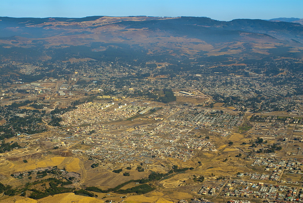 Aerial view of Addis Ababa, Ethiopia, Africa