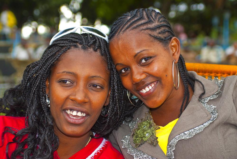 Two happy girls, Lake Tana, Ethiopia, Africa