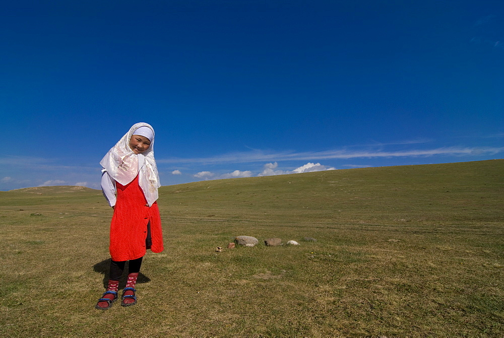 Friendly Nomad girl, Song Kol, Kyrgyzstan, Central Asia, Asia