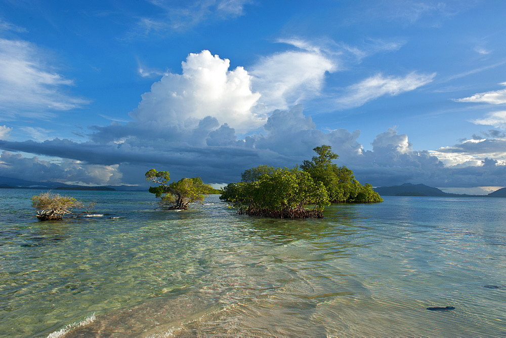 Huge cloud formations over the Marovo Lagoon, Solomon Islands, Pacific