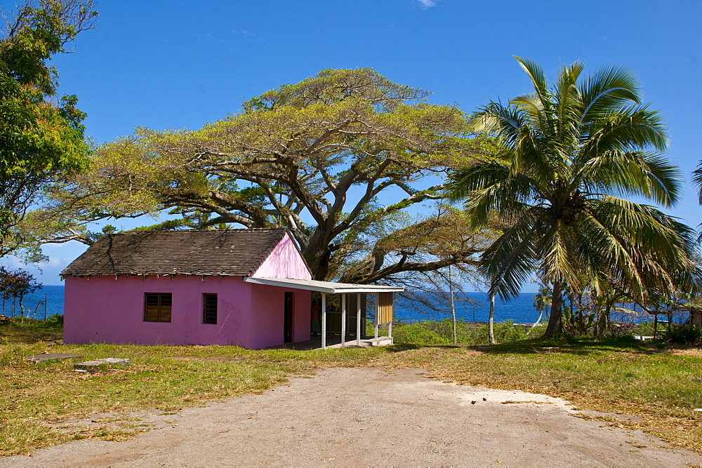 Pink town house in Lenakel capital of the Island of Tanna, Vanuatu, South Pacific, Pacific