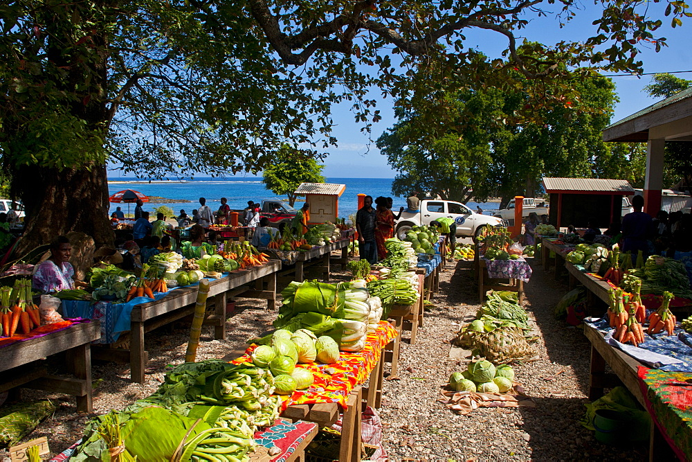 Vegetables for sale at the market of Lenakel, capital of the Island of Tanna, Vanuatu, South Pacific, Pacific