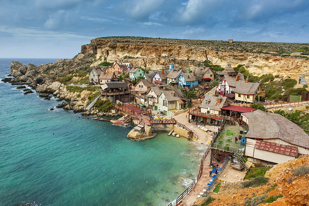 Popeye village, former movie set and now amusement park, Malta, Mediterranean, Europe