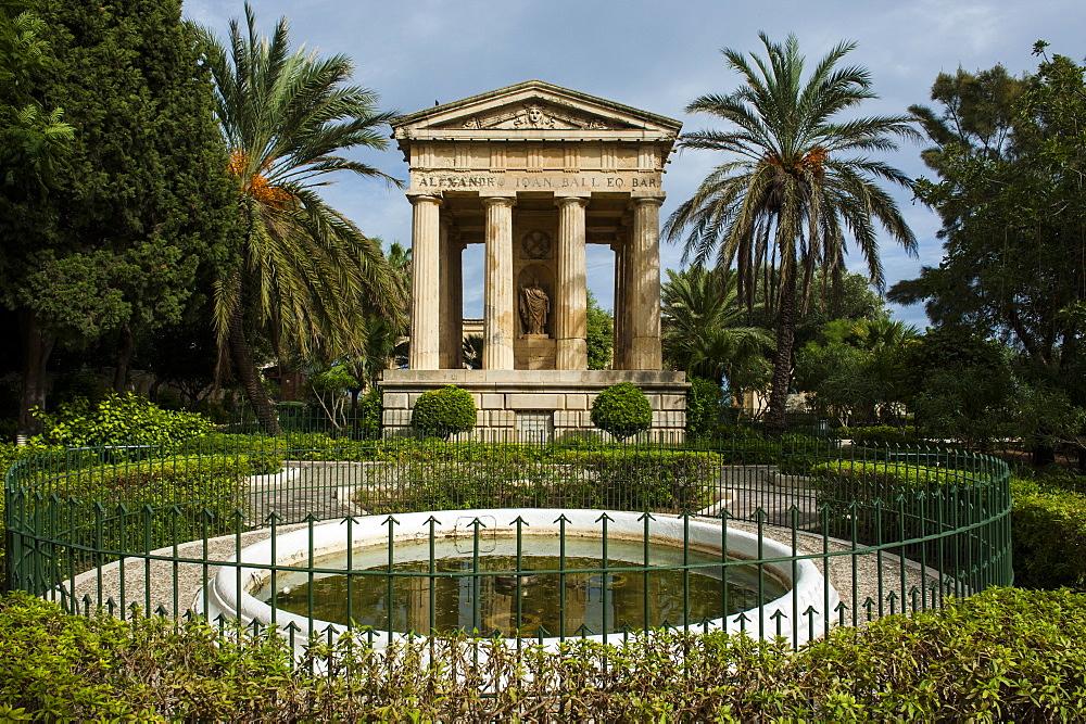 Lower Barrakka Gardens and the Alexander Ball memorial, UNESCO World Heritage Site, Valetta, Malta, Europe