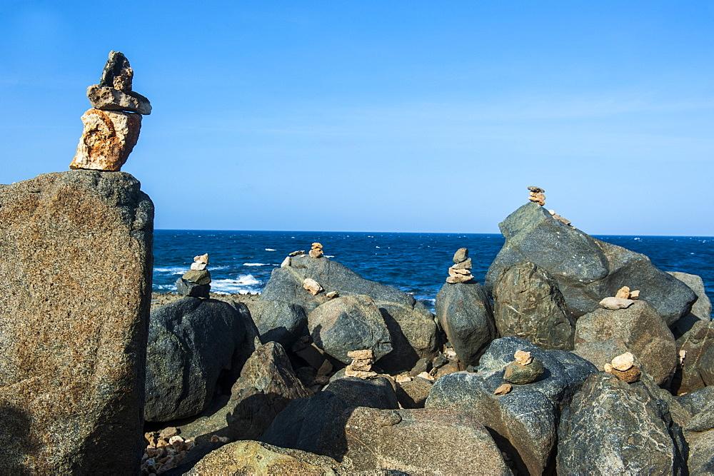 Stone set up on shore, Aruba, ABC Islands, Netherlands Antilles, Caribbean, Central America