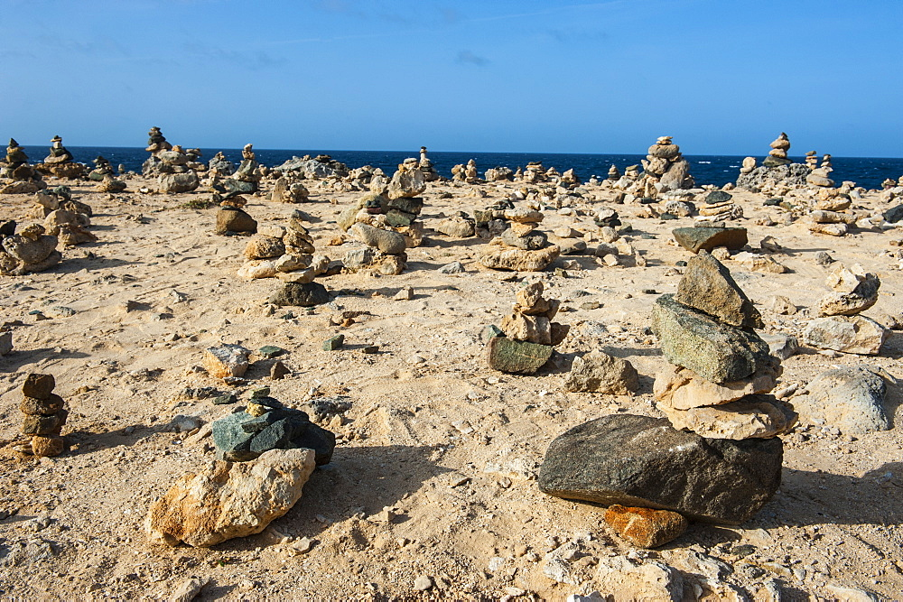 Stone set up on shore, Aruba, ABC Islands, Netherlands Antilles, Caribbean, Central America