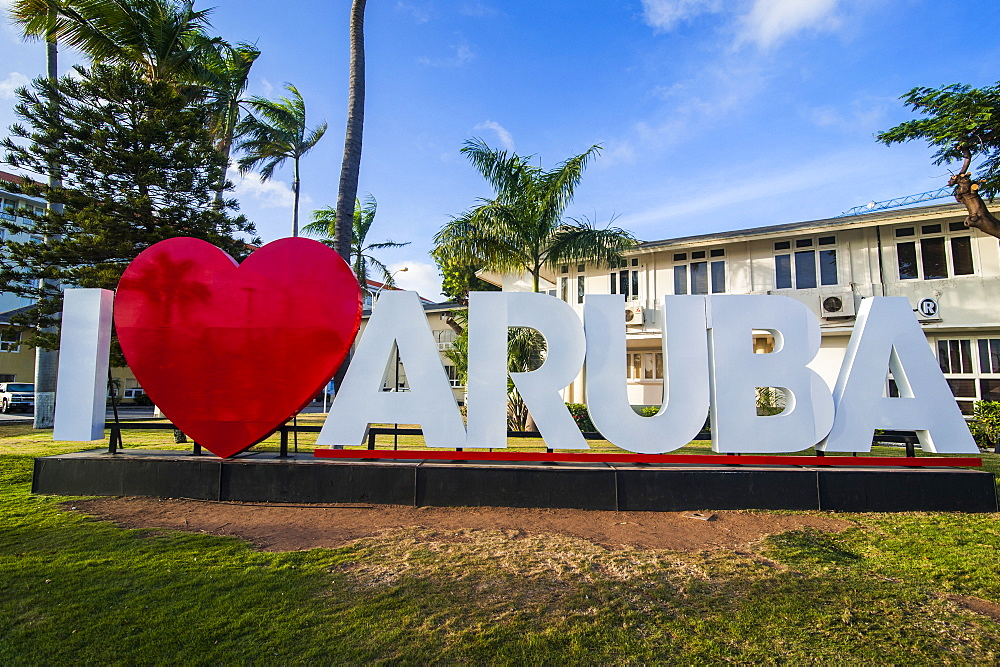 I love aruba sign in downtown Oranjestad, capital of Aruba, ABC Islands, Netherlands Antilles, Caribbean, Central America