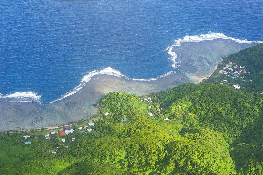Aerial of Tutuila Island in American Samoa, South Pacific, Pacific