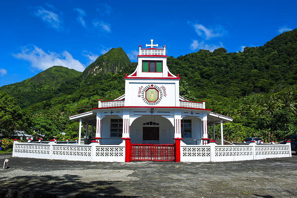 Church in Afono on Tutuila, American Samoa, South Pacific, Pacific