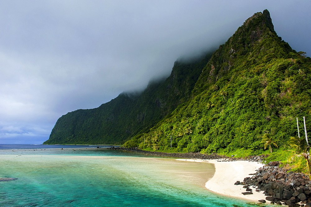 Turquoise water and white sand beach on Ofu Island, Manua Island group, American Samoa, South Pacific, Pacific
