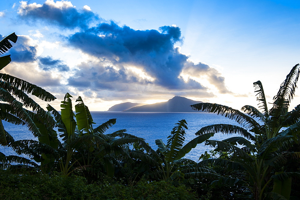 Sunset over Ofu Island, Manua Island group, American Samoa, South Pacific, Pacific