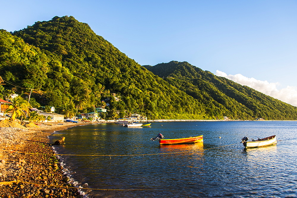 Fishing boats in the Bay of Soufriere, Dominica, West Indies, Caribbean, Central America