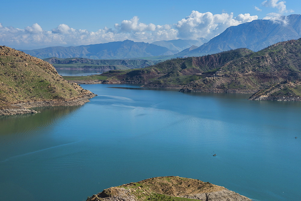 Darbandikhan artificial lake on the border of Iran, Iraq Kurdistan, Iraq, Middle East