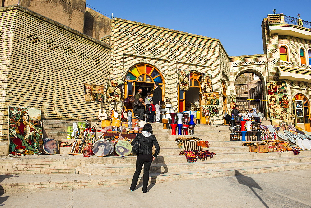 Kurdish souvenirs for sale below the citadel of Erbil (Hawler), capital of Iraq Kurdistan, Iraq, Middle East