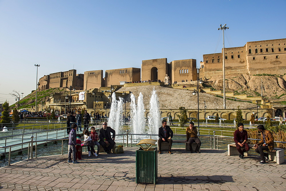 Huge square with water fountains below the citadel of Erbil (Hawler), capital of Iraq Kurdistan, Iraq, Middle East